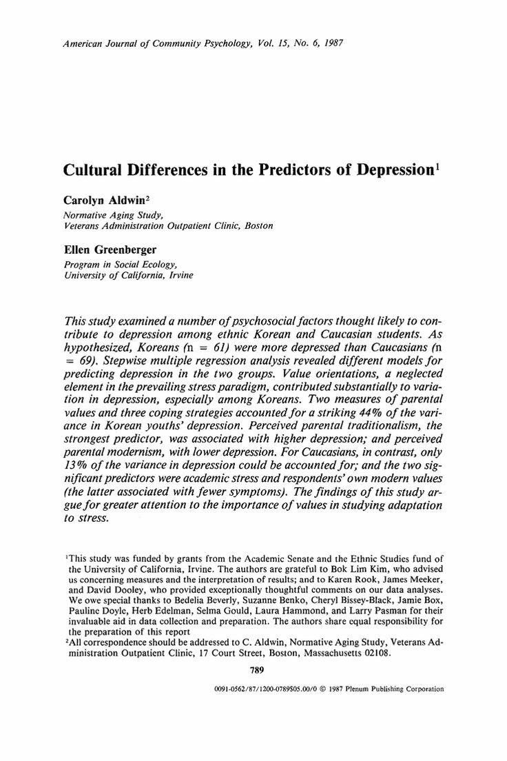 Cultural differences in the predictors of depression - Springer