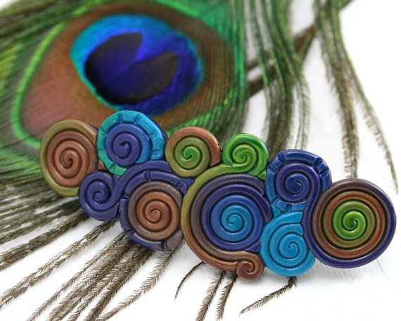 French Barrette in Peacock Feather Colors Polymer Clay Filigree