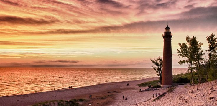 Silver Lake, MI Silver Lake Sand Dunes is a beachy oasis in the Midwest. Bike trails and farmer's markets line the streets, while lighthouses and enormous sand dunes frame the coast of lake Michigan.    Read more: America's Best Beach Towns | Travel | PureWow National  Sign Up For PureWow's Daily Email