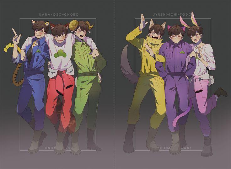 Osomatsu-san, anime, osomatsu, karamatsu, choromatsu, ichimatsu, jyushimatsu, todomatsu, kemono au