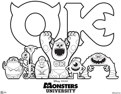 LAMINAS PARA COLOREAR - COLORING PAGES: Monster University para colorear e imprimir