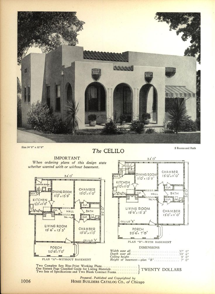 Spanish Revival Bungalow House Plans