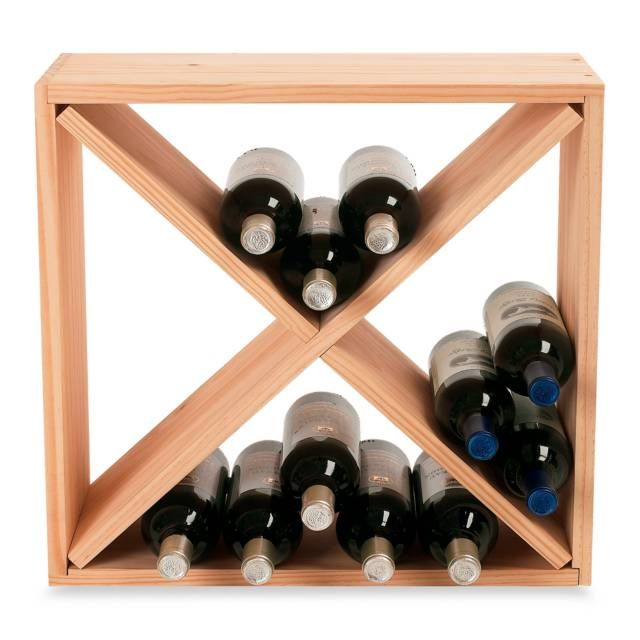 product image for Wine Enthusiast 24-Bottle Wooden Wine Rack Cube