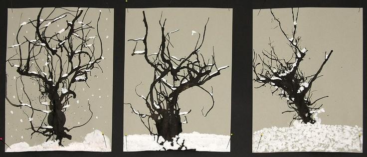 3. Klasse Winterbäume  Tusche verblasen und den Schnee mit Deckweiß  und Wattestäbchen tupfen