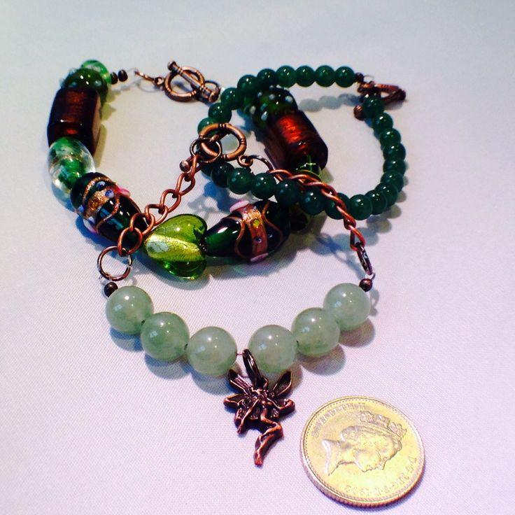 Green and copper stacking bracelets