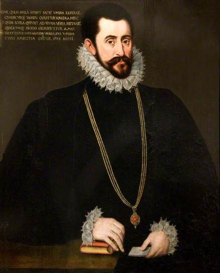 Portrait of Sir Francis Walsingham (c.1530–1590), MP, as Chancellor of the Order of the Garter. By/ attributed to Hieronymus Custodis, c.1585–1588. Oil on panel, 77.5 x 62 cm. National Trust, Kingston Lacy.