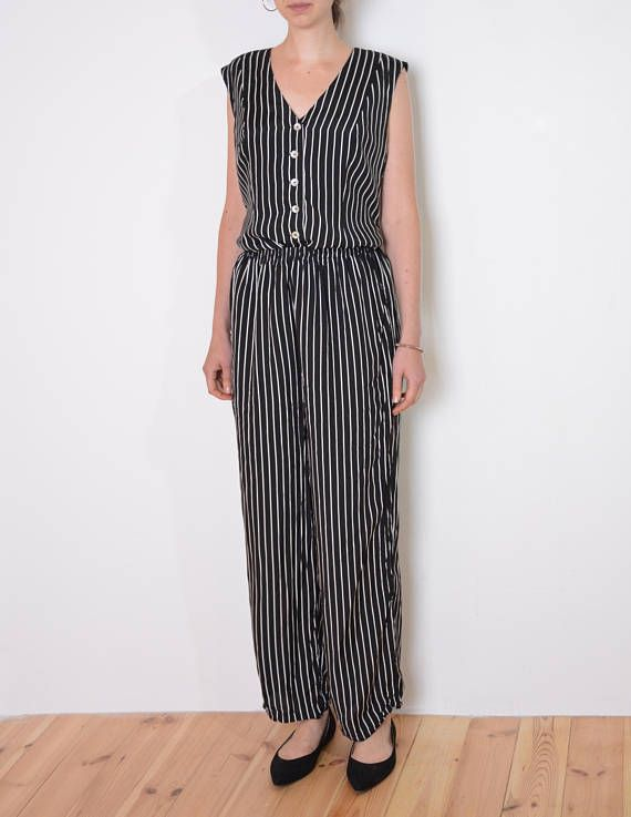 90's striped coordinates pants and vest set black and
