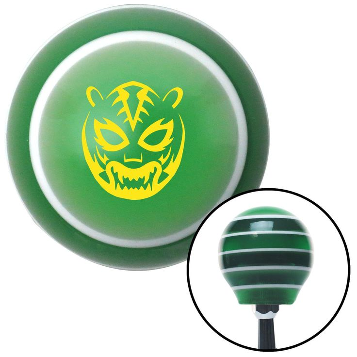 Yellow Lucha Libre Mask Green Stripe Shift Knob with M16 x 15 Insert - Give your interior the ultimate look. American Shifter's Elite(TM) series shift knobs are made from the highest quality components resulting in a superior feel on every shift. Each shift knob is designed and customized in the USA by skilled shift knob artisans who have a trained eye on every detail. American Shifters shift knobs offers an exclusive aluminum threaded insert designed to be screwed onto your shift arm. You…