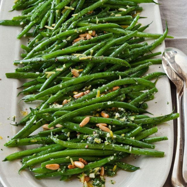Green Beans Gremolata - Barefoot Contessa- Good!  I sprinkled some Maldon salt on at the end for a nice salty crunch.  Also used chopped toasted almonds instead of pine nuts.  Nice simple side, highlights good beans!