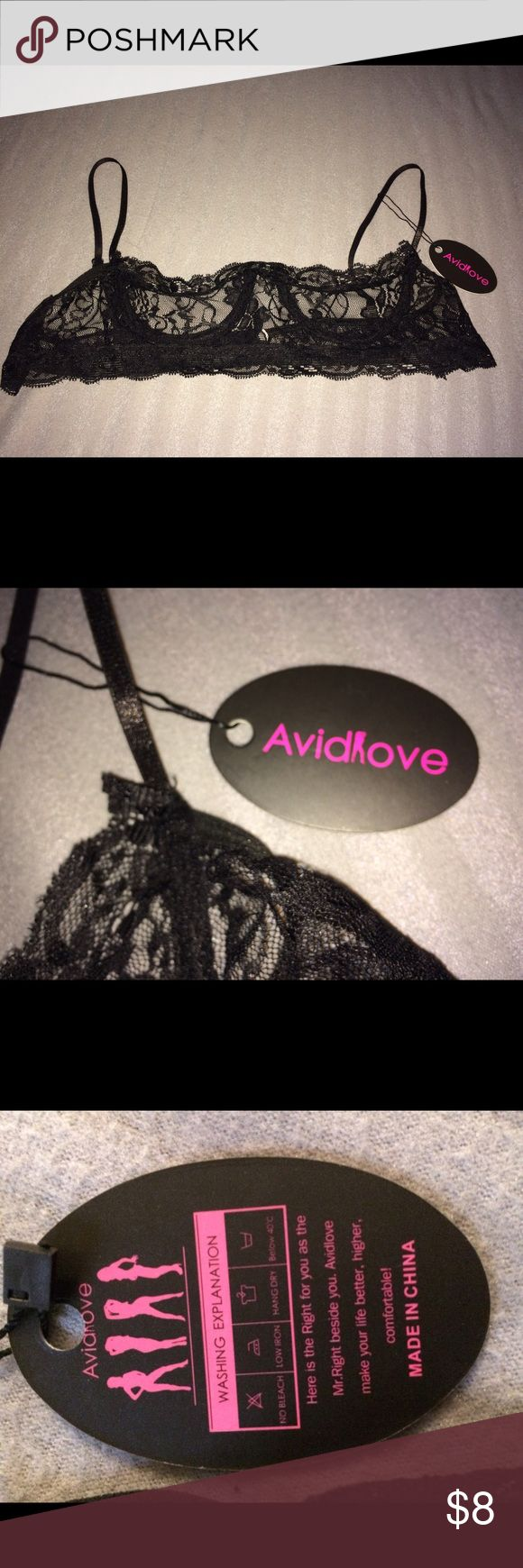 NWT Avidlove black lace open cup bra size medium New with tags. Runs small. Open cup underwire adjustable straps Intimates & Sleepwear Bras