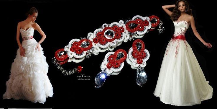 komplet ślubny sutasz, czerwień i biel
