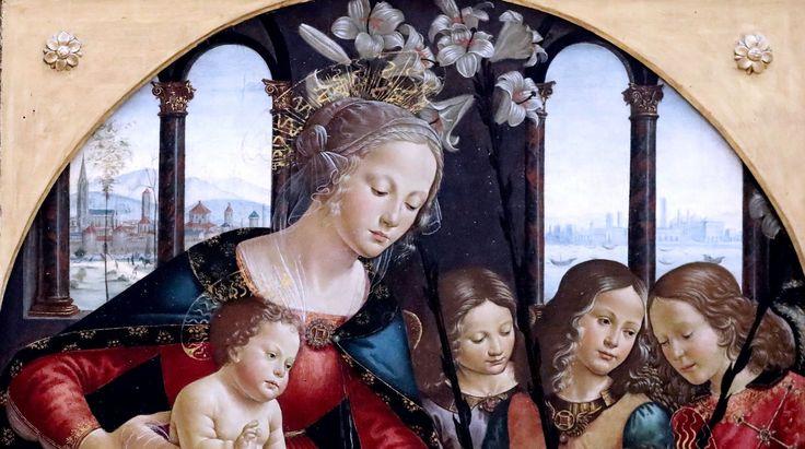 Neitsyt Maria, Jeeus, kolme enkeliä ja Johannes Kastaja - firenzeläinen taidemaalari Domenico Ghirlandaio (1449 - 1494)   angel