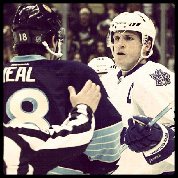 Dion Phaneuf  James Neal stare down.