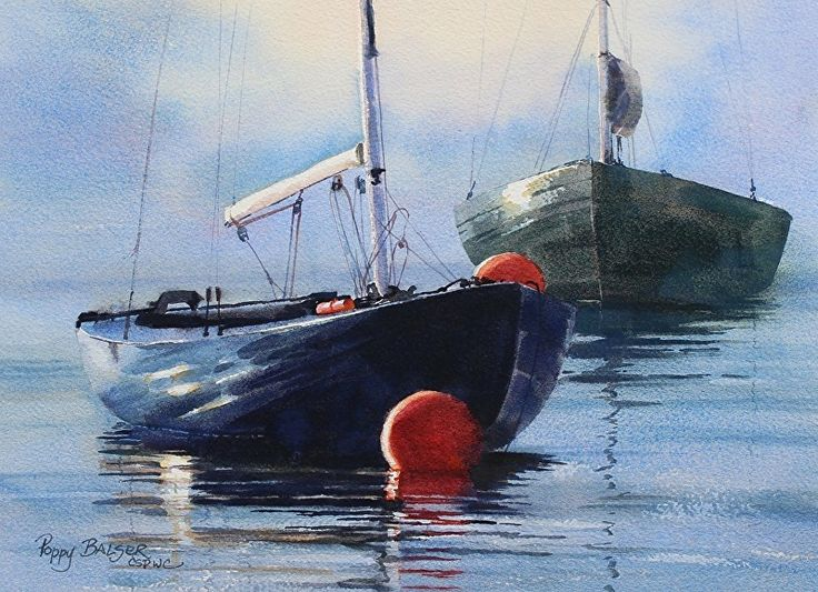 Fast Boats at Rest by Poppy Balser Watercolor ~ 10 x 14