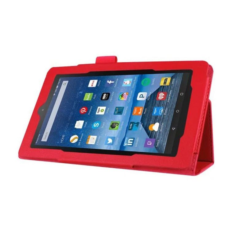 Fire HD 7 Case,AutumnFall Slim Folding Stand Leather Cover for Fire HD 7 Tablet (Red)