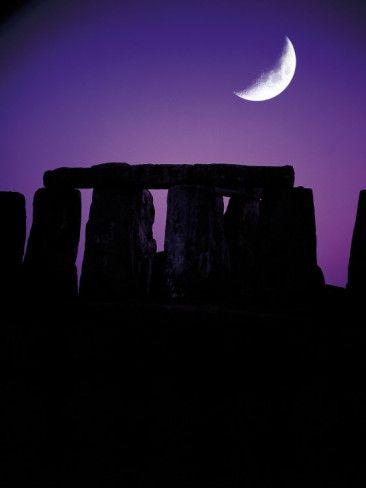 Crescent Moon Over Stonehenge, England by Terry Why  #moon