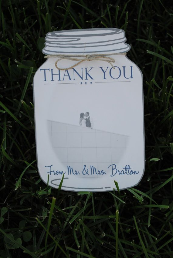 what to write in my bridal shower thank you cards%0A Mason Jar Thank You cards by blueenvelope on Etsy