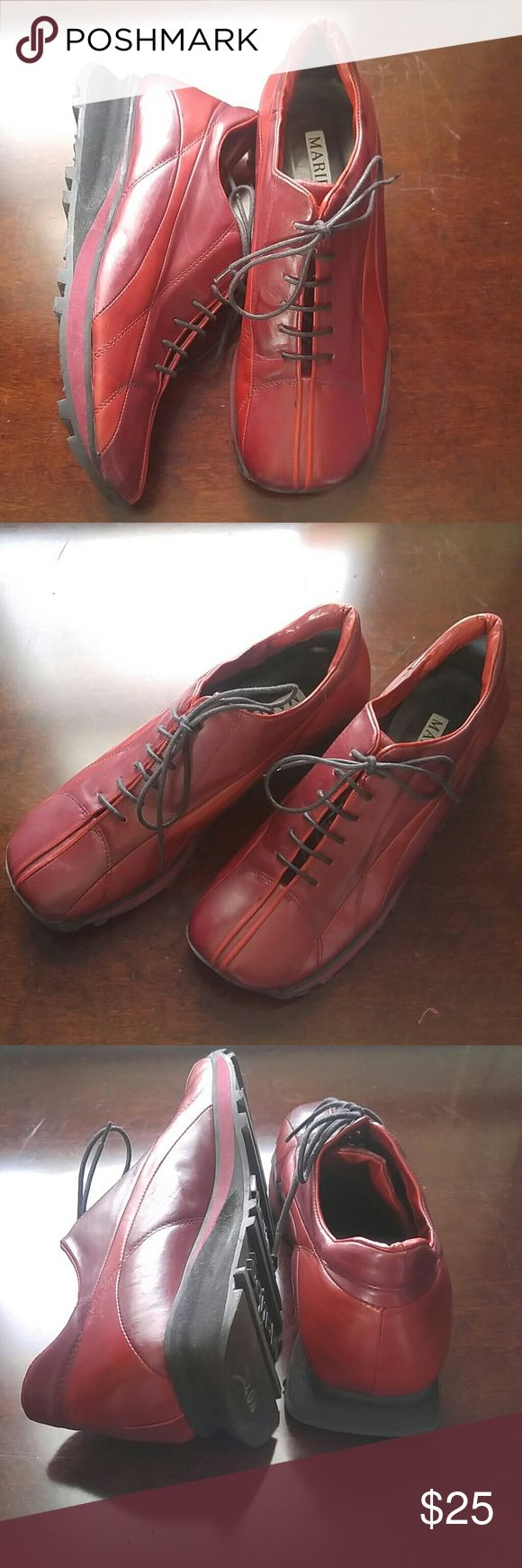 Red Lace Up Italian Leather Shoes by Maripe Red Lace Up Italian Leather Shoes by Maripe  Wonderful Condition! Ultra Comfortable. Lace Up Front. Square Toe. Fabulous Style. Soft Italian Leather Upper.  Rubber Walking Sole. maripe Shoes