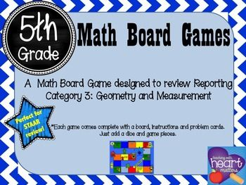 5th Grade Math Board Game- Math Monster Mania  This product will help your students review concepts found under Reporting Category 3: Geometry and Measurement for the 5th grade STAAR math assessment.Your students will have fun while at the same time reviewing math concepts.You can use this product as part of your math centers, as a spiraling tool and/or in addition to your STAAR review sessions.This product includes:-board-instructions-24 problem cards-answer keyYou will need:-1 dice-game…