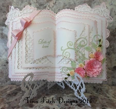 3d Rose Layered Open Book Stand SVG on Craftsuprint designed by Tina Fitch - This is just stunning once cut and assembled and could be used for many occasions should you wish.. with only small embellishments to compliment the design too... - Now available for download!