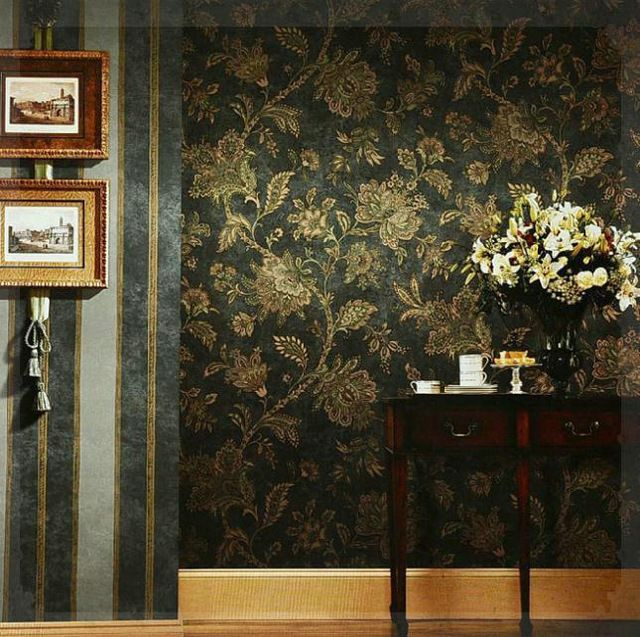 Rustic black and gold wallpaper vintage wall paper embossed PVC wallpaper background wall wallpaper black floral for living room