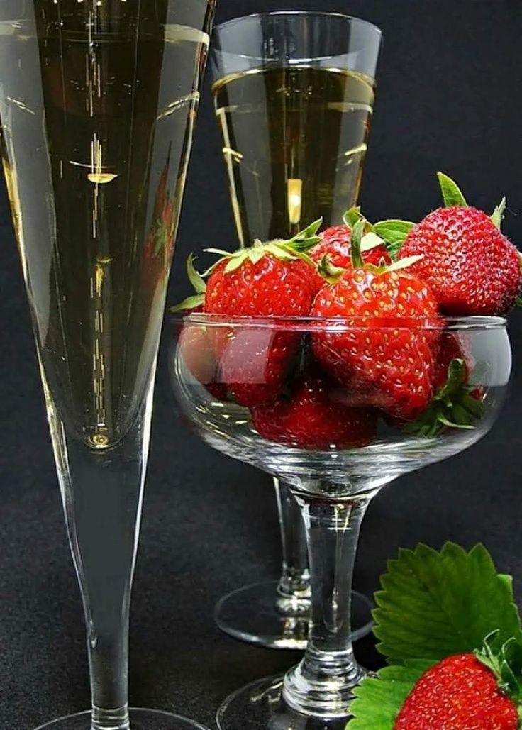 Картинка шампанское с клубникой