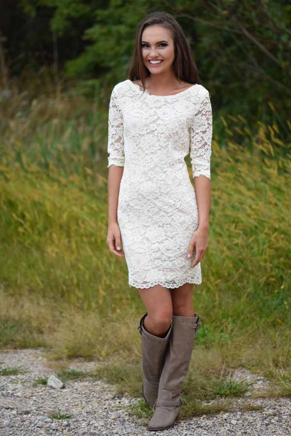 I own this.... Ivory Lace Dress – The Pulse Boutique