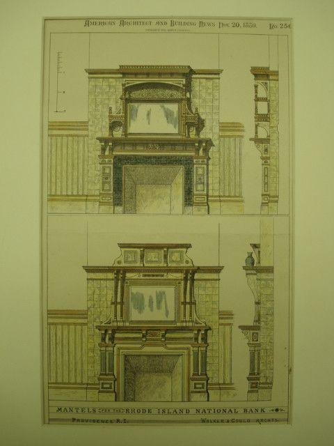 Mantels For The Rhode Island National Bank , Providence, RI, 1880, Walker U0026