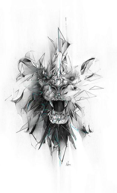 Gebrochene graue geometrische Löwen Gesicht Tattoo-Design, # gebrochen