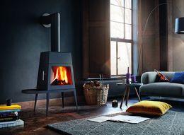 Nowoczesny kominek Shaker firmy Skantherm. Ten energooszczędny piec został zaprojektowany przez Antonio Citterio & Toan Nguyen.