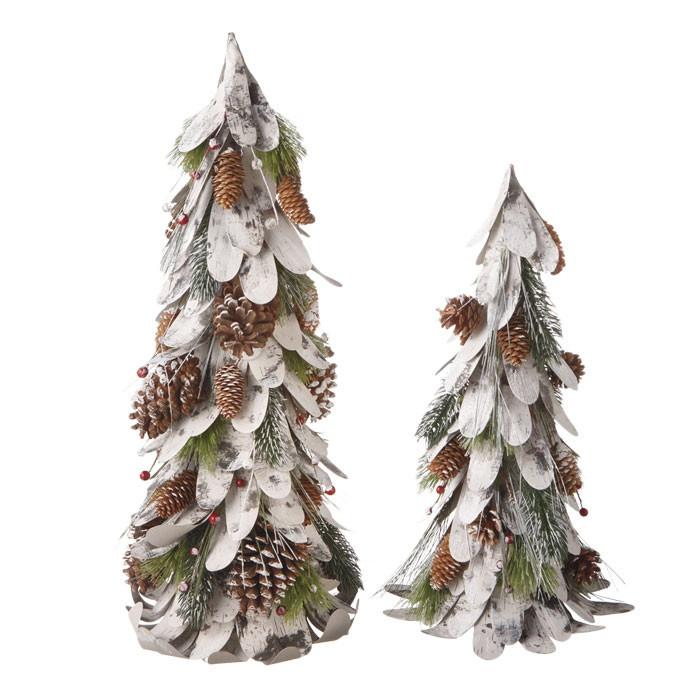 2 Piece Pinecone Tree Figurine Set