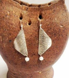Sterling Silver and Freshwater Pearl Hammered Earrings by MeAndMyMansJewelry on Etsy