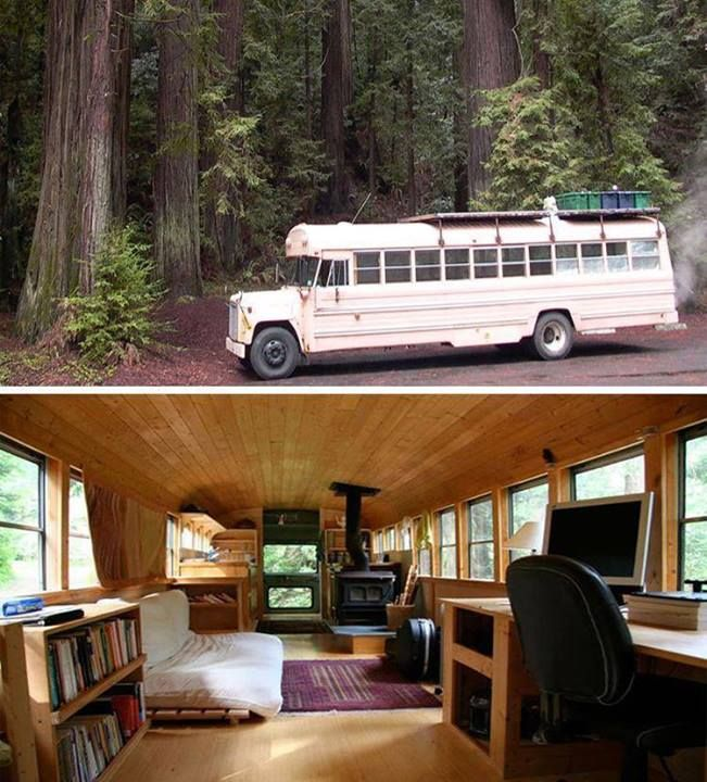 Beautiful, 1978 International, 35' bus with custom, all-wood interior, full kitchen and living space, wood stove, and roof deck (everything but a bathroom).