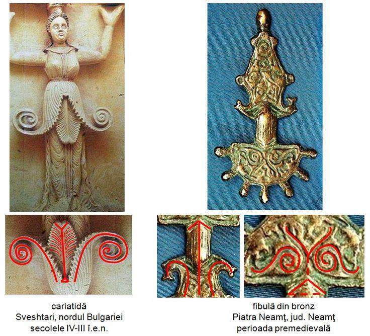 Fibula din bronz descoperită la Piatra Neamţ, judeţul Neamt, datată în perioada premedievală. Pe corpul fibulei este incizat un pom al vieţii.