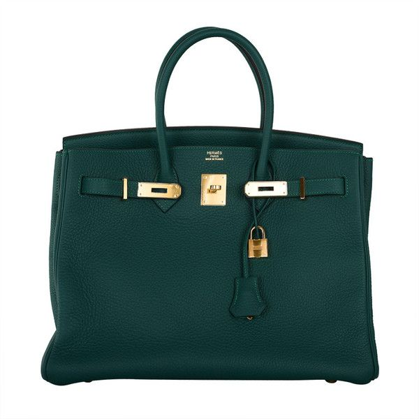 New Color Hermes Birkin Bag 35cm Malachite Gold Hardware ($26,950) ❤ liked on Polyvore featuring bags, handbags, hermes, purses, borse, accessories, handbags and purses, green bags, hermes bag and hermes handbags