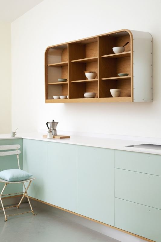 deVOL make bespoke kitchens. Alongside their Classic range is a Shaker Kitchen and their new retro Air design with curvy aluminium side panels and pastel fronts and drawers. Plus a wide range of beautifully-made wooden accessories: decorative ladders, shelves, peg rails, towel rails, a laundrymaid and chopping boards.