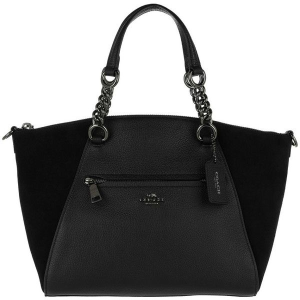 Coach Handle Bag - Chain Prairie Mixed Leather Satchel Bag Black - in... ($365) ❤ liked on Polyvore featuring bags, handbags, black, leather handbags, leather purses, leather satchel purse, top handle handbags and genuine leather purse