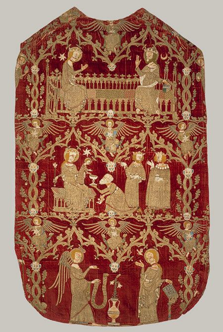 Chasuble, ca. 1330–1350  English  Silk and silver-gilt thread and colored silks in underside couching, split stitch, laid-and-couched work, and raised work, with pearls on velvet
