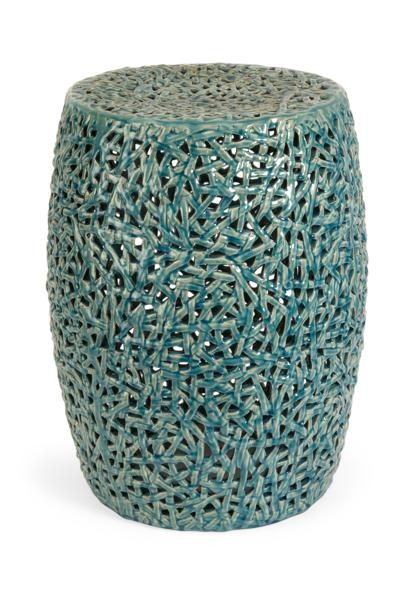 """Tobias Cut work Garden Stool -  The Tobias Cut work garden stool is skillfully handcrafted from ceramic and finished in a turquoise glaze. Materials : 100% ceramic. 20""""h x 14.75""""d."""