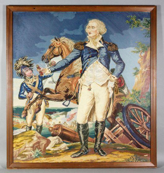 После Джона Trumbull, острие иглы Джорджа Вашингтона в Трентон, Берлин вышивка гарусом острие иглы, около 1840 Цена: $ реализованной 2,000.  Каминский аукцион изображение.