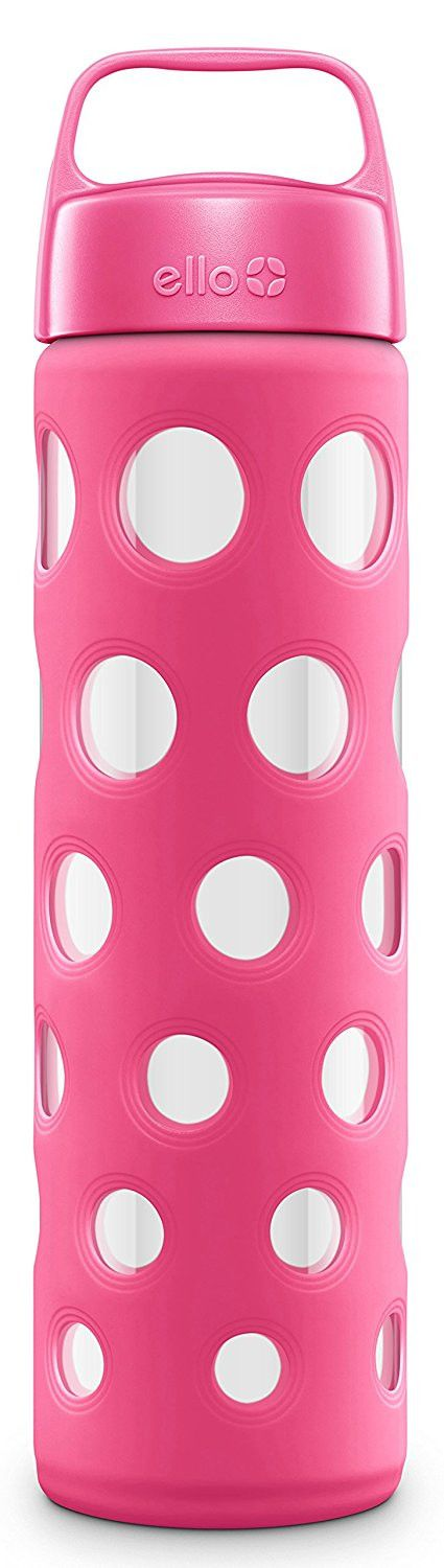 Ello Pure BPA Free Glass Water Bottle with Lid, Pink Fizz, 20 oz.
