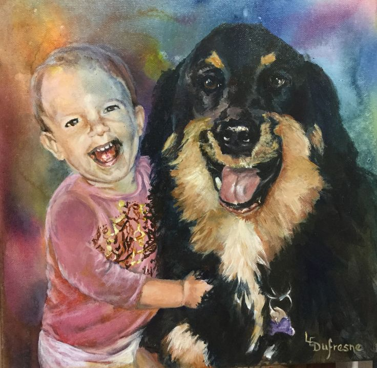 Acrylic portrait - toddler and her dog - best buddies