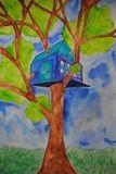 Artsonia Art Exhibit :: 2-Point Linear Perspective Treehouse