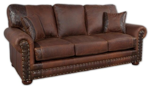 Desert Leather Sofa With Pillows Western Sofas And Loveseats Rustic Sofa With Deep Seating Offers Plenty Of Room To Re Rustic Sofa Leather Sofa Nailhead Sofa