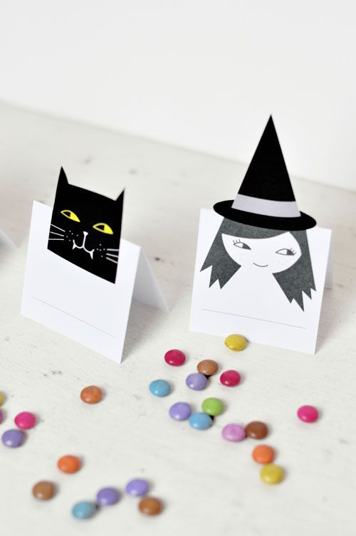 halloween place cards printable by PinkNounou, place cards, cat