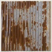 Dakota Tin Repurposed Corrugated Tin Ceiling Tile.  Great mix of galvanized and rust finish!