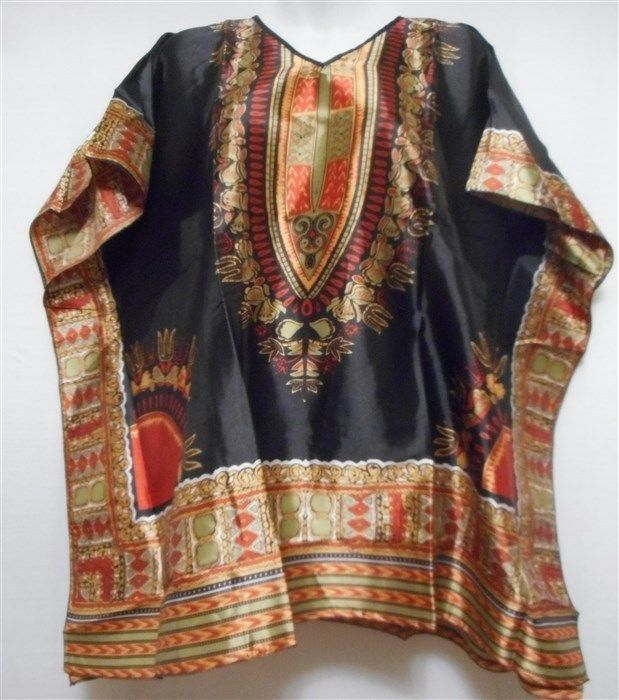 Women's Dashiki Blouse Ladies Poncho Summer Wear Top Shirt Black Rust One Size #Handmade #Tunic #Casual