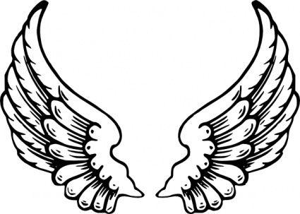 単純な小さな赤ちゃん黒いアウトライン描画漫画心ワシはエンジェルウィング無料ライン描画翼心ロゴ角度タトゥー ページ デザイン図面天使の入れ墨のスケッチを着色 クリップ アート, クリップアート - ClipartLogo.com