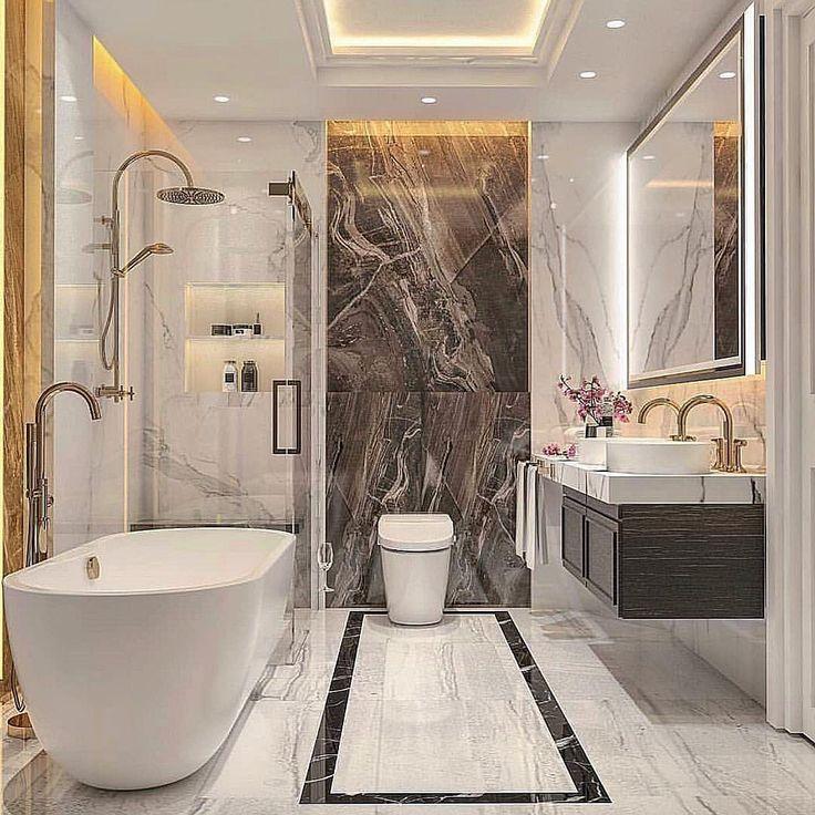 Decor Trends More On Instagram Um Luxo Essa Sala De Banho Classica Com Revestime In 2020 Modern Luxury Bathroom Bathroom Design Luxury Modern Bathroom Design