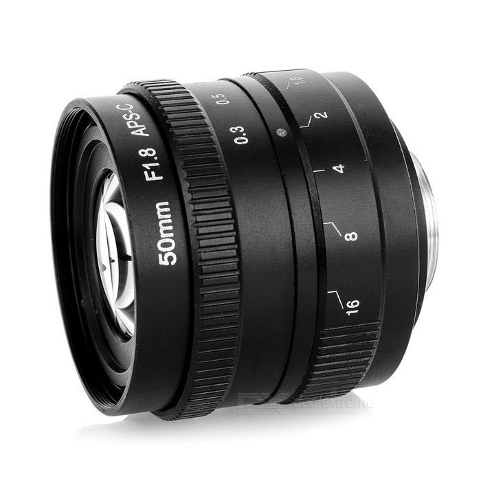 50mm F1.8 Digital Camera Lens w / C-M4 / 3 Adapter Ring Set for Olympus / Panasonic Cameras - Black